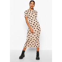 Womens Spot Crew Neck Midaxi Dress - Beige - 16, Beige