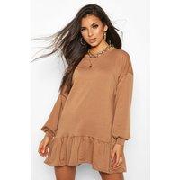 Womens Drop Hem Long Sleeve Sweatshirt Dress - beige - 8, Beige