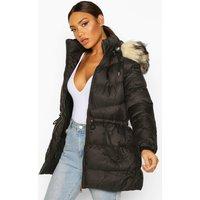 Womens Faux Fur Trim Parka - black - 12, Black
