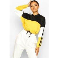Womens Colour Block Sports Stripe Tie Crop Hoodie - yellow - 14, Yellow
