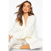 Womens Oversized Cable Knit Fluffy Boyfriend Cardigan - white - S/M, White