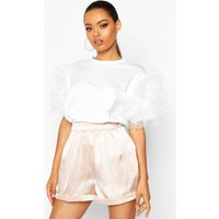 Womens Organza Ruffle Sleeve T-Shirt - white - S/M, White
