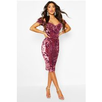 Womens Velvet Sequin Cupped off the Shoulder Midi Dress - pink - 12, Pink