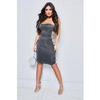 Womens Sparkle Side Elastic Bandeau Midi Dress - black - 12, Black