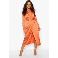 Womens Satin Plunge Wrap Shirt Dress - orange - 14, Orange