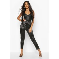 Womens Stretch Satin Panelled Trouser - black - 8, Black