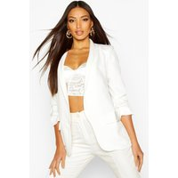 Womens Ruched Sleeve Blazer - white - 10, White