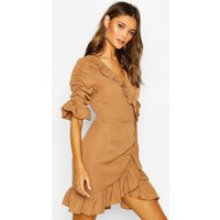 Womens Woven Extreme Ruffle Tea Dress - beige - 12, Beige