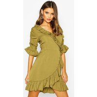 Womens Woven Extreme Ruffle Tea Dress - green - 14, Green