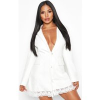 Womens Lace Hem Blazer Dress - white - 10, White