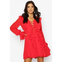 Womens Mesh Extreme Ruffle Tie Front Skater Dress - red - 10, Red