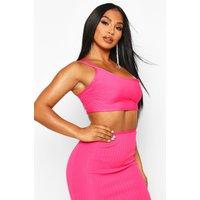 Womens One Shoulder Rib Bandage Top - Pink - 12, Pink