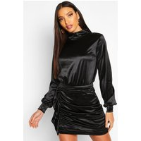 Womens Ruched Satin Ruffle Mini Skirt - black - 6, Black