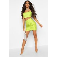 Womens Metallic Ruched Wrap Front Mini Skirt - green - 14, Green