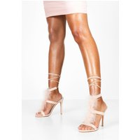 Womens Feather Trim Heeled Sandals - pink - 6, Pink