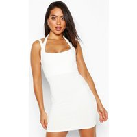 Womens Ribbed Double Strap Bodycon Mini - white - 12, White
