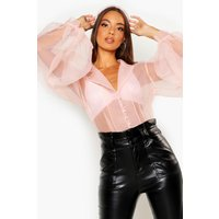 Womens Button Detail Puff Sleeve Organza Shirt - pink - 12, Pink