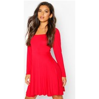 Womens Long Sleeve Jersey Square Neck Skater Dress - red - 8, Red