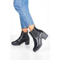 Womens Stud Trim Chunky Chelsea Boots - black - 5, Black