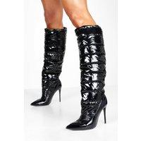 Womens Stiletto Heel Knee High Ski Boots - black - 3, Black