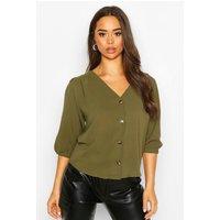 Womens Woven Button Through Blouse - green - 10, Green