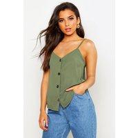 Womens Button Front Woven Cami - green - 8, Green