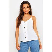 Womens Button Front Woven Cami - white - 12, White