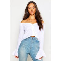 Womens Sweetheart Fared Cuff Shirt - white - 12, White