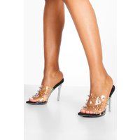 Womens Studded Clear Stiletto Mules - black - 7, Black