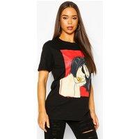 Womens Face Graphic Slogan T-Shirt - Black - S, Black