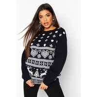 Womens Christmas Fairisle Knitted Jumper - navy - M, Navy