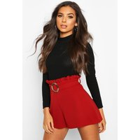 Womens Snake Buckle Paper Bag Short - red - 8, Red