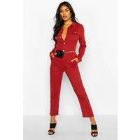 Womens Denim Boilersuit - red - 14, Red
