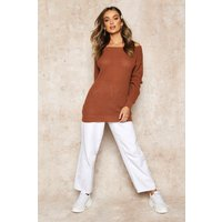 Womens Slash Neck Fisherman Jumper - beige - XL, Beige