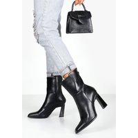 Womens Interest Heel Zip Back Shoe Boots - black - 7, Black