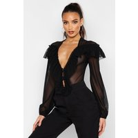 Womens Mesh Ruffle Detail Bodysuit - black - 6, Black