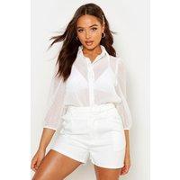Womens Dobby Spot Mesh Shirt - white - 8, White