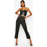 Womens Tailored Button Detail Trouser - black - 14, Black