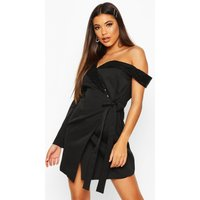 Womens Asymmetric One Sleeve Sequin Collar Blazer Dress - black - 10, Black