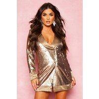 Womens Matte Sequin Wrap Blazer Dress - Metallics - 12, Metallics