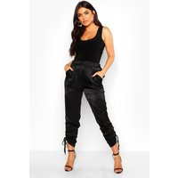 Womens Ruched Ankle Luxe Joggers - black - 10, Black