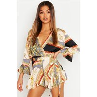 Womens Scarf Print Wrap Playsuit - grey - 14, Grey