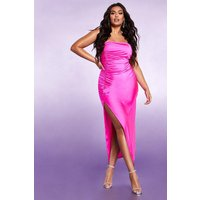 Womens Ruched Side Split Bandeau Maxi Dress - pink - 24, Pink