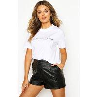 Womens Love Lips Printed High Neck T-Shirt - white - 14, White