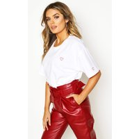 Womens Oversized Batwing Embroidered Crop T-Shirt - white - M, White