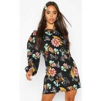 Womens Floral Ruffle Detail Shift Dress - black - 8, Black