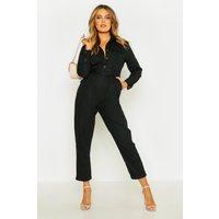Womens Button Front Belted Boiler Suit - black - 16, Black