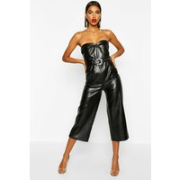 Womens Leather Look Belted Culotte Jumpsuit - black - 10, Black