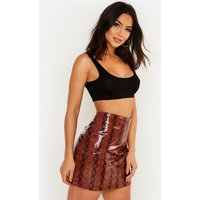 Womens Super Stretch Vinyl Snake Mini Skirt - brown - 16, Brown
