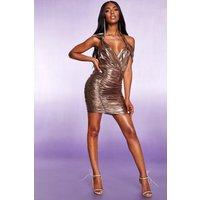 Womens All Over Ruched Halterneck Metallic Dress - metallics - 10, Metallics